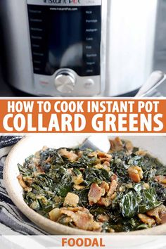 Learn how to cook collard greens in the electric pressure cooker for a classic Southern side in under 30 minutes. Complete with smoky bacon and onion, this dish is ready to serve straight out of the pot with whatever entree you want to enjoy alongside it. Get the full how-to guide. #instantpot #collardgreens #foodal Best Slow Cooker, Slow Cooker Recipes, Crockpot Recipes, Easy Recipes, How To Cook Collards, Southern Side Dishes, Side Dish Recipes, Dinner Recipes