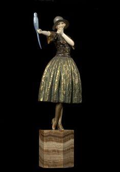 ** Demètre H. Chiparus (Romanian 1886 - 1947), Paris, Sculpture, Cold-painted, Patinated Bronze, Ivory and Onyx Base.