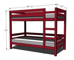 ana white These bunk beds are unique because they are easy to build and can be assembled and disassembled easily. Ladder is integrated into the design.
