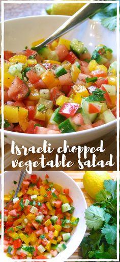 Diced fresh, ripe vegetables, lightly dressed with olive oil, lemon juice & herbs - delicious! Serve with falafel, shakshuka, or even eat it for breakfast!