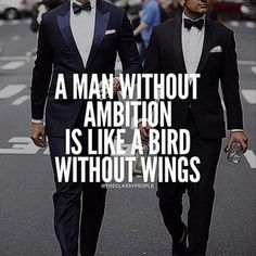 A man without ambition is like a bird without wings.