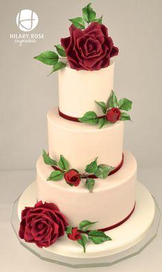 English Garden Rose Wedding Cake