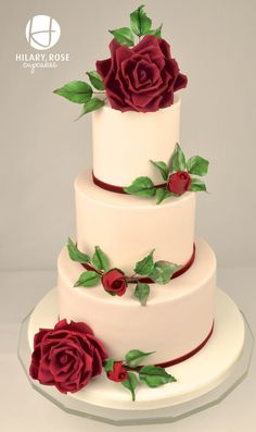 English Garden Rose Wedding Cake