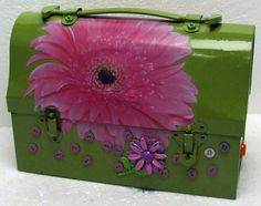Vintage Retro Upcycled Metal Handy Andy Tin Lunchbox Lunch Box With Buttons Floral Retro Brooch Green Purple Pink Decals Glamping by RetroCentsStudio on Etsy