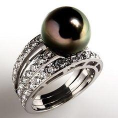 TAHITIAN PEARL & DIAMOND TRIPLE SPLIT SHANK COCKTAIL RING 18K WHITE GOLD