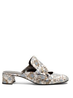 Click here to buy Erdem Addison jacquard block-heel mules at MATCHESFASHION.COM