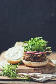 [Black Rice and Mushroom Burgers with Cucumber Garlic Yogurt]