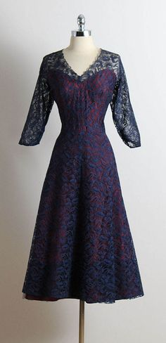 ➳ vintage 1940s dress * gorgeous midnight blue lace * eggplant/purple acetate lining * illusion bodice * metal back zipper * by Media Modes condition   excellent fits like xl/xxl length 48 bodice length 18 bust 42 waist 34 ➳ shop http://www.etsy.com/shop/millstreetvintage?ref=si_shop ➳ shop policies http://www.etsy.com/shop/millstreetvintage/policy twitter   MillStVintage facebook   millstreetvintage instagram   millstreetvin...