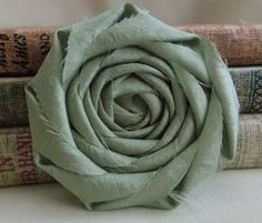 Rustic Wedding Decor - Sage Green Fabric Flower - Rolled rosette - crafts - diy bride - home decor - appliques - sewing - shabby chic flower