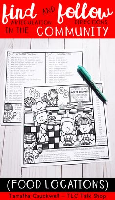 Students enjoy using this fun No Prep pack of speech and language tasks! This pack is perfect for working with mixed groups. Students working on articulation can search for hidden words in the picture while students working on language can answer wh-questions, follow 2-step directions, or work on narrative skills. #speechtherapy #articulationtherapy #languagetherapy #mixedspeechtherapy #speechteletherapy Articulation Therapy, Speech Therapy Activities, Language Activities, Receptive Language, Speech And Language, Community Picture, Smoothie Shop, Hidden Words, Wh Questions