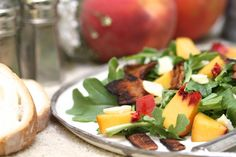 I can't wait for peaches to be in season.  Peach, arugula salad