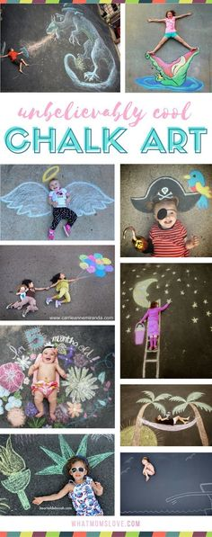 Sidewalk Chalk Art Ideas for Kids | These creative driveway illusions are totally awesome! Easy drawings to incorporate your baby, child or teen. Plus tons of other sidewalk chalk games and activities for outdoor summer fun. #outdoorideasforsummer