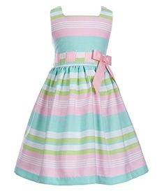 b4367afcc55 Toddler Girls Easter Pink   Green Multi Striped Linen Party Dress 2T - 6X  Little Girl