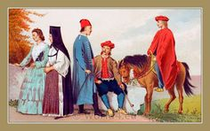 The Serbs in the Adriatic. Their types and costumes 1870-1878. People from Sinj, Croatia.