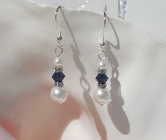 Swarovski pearl and crystal earrings by ParkhillDesigns on Etsy