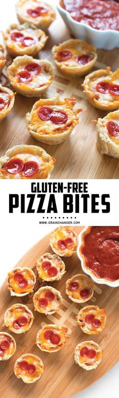 Gluten-Free Pizza Bites - perfect appetizer for the Super Bowl… Gluten Free Appetizers, Gluten Free Snacks, Gluten Free Dinner, Foods With Gluten, Gluten Free Cooking, Dairy Free Recipes, Party Appetizers, Party Snacks, Snacks Kids