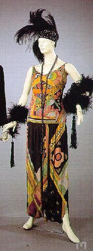 Tafeta dress in printed silk by Sonia Delaunay, 1920, 1928.  In the Museu Nacional do Traje e da Moda (National Museum of Dress and Fashio...