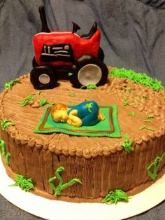 farmer baby shower cake.  By jnoble35 on CakeCentral.com