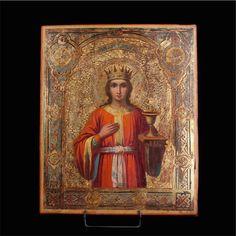 Лот 0021 Русская икона святого Варвары. Конец 19-го века. Начальная цена: 1000 €…