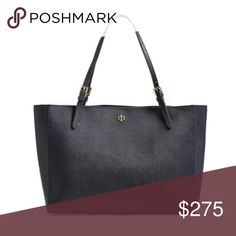 Tory Burch 'York' Bucket Tote Navy NEW! $295 Delicate gilt buckles grace the slender straps atop a streamlined tote shaped from lavish Saffiano leather. Features open-top closure, adjustable handles, central zip compartment; interior zip and wall pockets. This item is a new store display item. Tags removed but re-tied onto bag. No dust cover. May show minimal wear from display and storage. The Tory Navy color is currently on back order in stores everywhere. This item is on hand and available…
