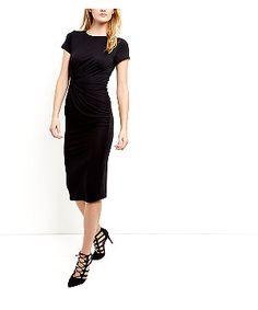 Black Side Knot Midi Dress  | New Look