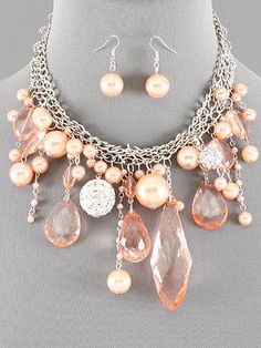 Contessa Bella Boutique Style Silver Tone Multi Chain Peach Pearls Crystals and Glitter Balls Statement Women Necklace and Earrings Set