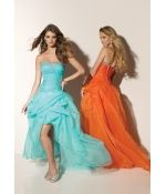 Dropped Strapless Organza Pick-ups Crystal Lace Up Long Prom Dress
