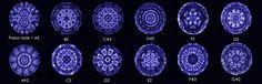 Visual representations of 12 piano notes as imaged using a cymascope.