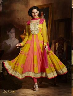 Attractive latest designer pink and yellow anarkali suits