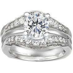 Sterling Silver Vintage Style Filigree and Millgraining Contour Ring Guard and Solitaire Guard Set, This set includes two pieces: Ring Guard and Complimenting 1 Carat CZ Solitaire. set with Cubic Zirconia (1.75 Ct. Twt.) TwoBirch http://smile.amazon.com/dp/B00E8VGKOC/ref=cm_sw_r_pi_dp_W9rLvb0D01JYA