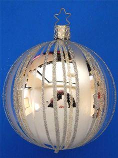 LG Silver Inge Glas Kugel Fancy Stripes Ball German Glass Christmas Ornament | eBay