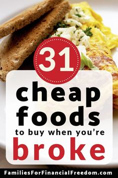 31 Cheap Foods for When You're Broke–Find the best 31 foods to eat to save mo… – Finance tips, saving money, budgeting planner Cheap Easy Meals, Frugal Meals, Budget Meals, Cheap Food, Inexpensive Meals, Freezer Meals, Planning Budget, Meal Planning, Cheap Grocery List