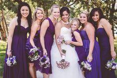 Jade and Michael, Roseburg Oregon, Backyard Wedding, DIY Wedding, Hurtienne Photography, Oregon Wedding Photographers, Romantic Riverside wedding, bridal party poses, casual bridesmaids poses, purple wedding colors, mismatched bridesmaids dresses