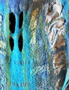 "Nuno felt scarf ""Blue windows"" by Sana Art on Flickr"