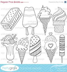 80% OFF SALE ice cream popsicle digital stamp commercial use, vector graphics, digital stamp, digital images - DS311