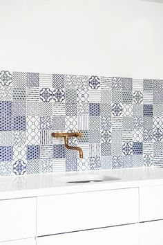 gorgeous tiles!    Pair these tiles with gold antique tap and modern cabinets!