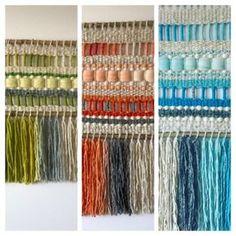 Tapices, telares y cojines elaborados con lanas naturales del sur de Chile... diseños exclusivos y contemporáneos que aportan elegancia y calidez a tus ambientes. Weaving Tools, Weaving Projects, Weaving Art, Tapestry Weaving, Loom Weaving, Inkle Loom, Weaving Wall Hanging, String Crafts, Cardboard Crafts