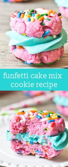 Funfetti Cake Mix Sandwich Cookies are simply made with a boxed cake mix, then filled with buttercream frosting. Perfect for birthdays, parties and celebrations!