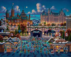Eric Dowdle jigsaw puzzle featuring work from the famous folk artist in a 1000 piece puzzle. Finished size: 19 x 26. Released 2013.As the capital of Canada and it's fourth largest city, Ottawa was initially an Irish and French Christian settlement, but has now become a multicultural city with a diverse population. In this delightful winter scene, ice skaters and hockey players enjoy the brisk night air against the marvelous backdrop of Parliament Hill.