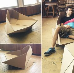 This design of chair looks like it could have been assembled through Origami-style paper folding on a larger scale to create a low-height chair. My only concern with this design is that the chair may be too low to use, as it looks like it is only a few inches up from the floor, making the product seem 'quirky' but inefficient.