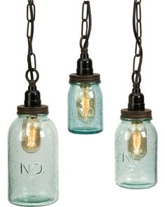 These hanging mason jar pendants have a unique vintage vibe! Get them here: http://www.bhg.com/shop/imax-lexington-mason-1-light-jar-mini-pendant-set-of-3-p5245538ae4b06f9c2d31d4a3.html