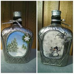 me ~ Altered Crown Royal Bottle faux mercury glass holiday style. Liquor Bottle Crafts, Wine Bottle Vases, Painted Wine Bottles, Hand Painted Wine Glasses, Diy Bottle, Liquor Bottles, Glass Bottles, Alcohol Bottles, Crown Royal Bottle