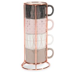 MODERN COPPER 6 faience coffee cups   holder