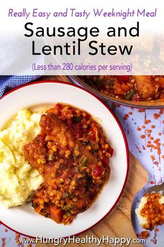 A hearty and warming Sausage and Lentil Stew that is easy to adapt, veggie packed and makes use of store cupboard essentials. You can use meat or veggie/vegan sausages in this protein packed meal and it freezes really well.