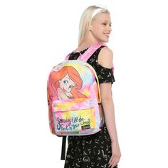 Disney Loungefly Disney The Little Mermaid Ariel Tie Dye Backpack ($31) ❤ liked on Polyvore featuring bags, backpacks, mint, canvas backpack, backpack bags, canvas bag, multi colored backpacks and disney
