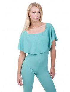 Womens Fashion Shoulder Frill Jumpsuit   #fashionwholesaler #turquois #jumpsuit #purewholesaler #newarrival