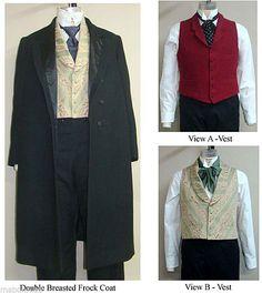 Men's Victorian Western Frock Coat Vest Costume Sewing Pattern Laughing Moon 109 | eBay