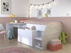 Unbeatable Value - The Parisot Milky Midsleeper Cabin Bed is available for Free Delivery. Grown Up Bedroom, Girls Bedroom, Kids Mattress, Mid Sleeper Bed, Desk Areas, Childrens Beds, Built In Desk, White Desks, Beds Online