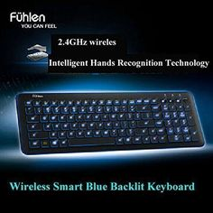 Introducing Pesp Ultrathin Intelligent Smart Adjustable Blue LED Backlight Multimedia Wireless Gaming Keyboard with USB Receiver for PC Laptop. Great product and follow us for more updates!