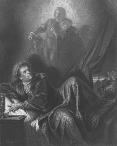 'König Richard III ~ King Richard III'. Engraved by Johann Tobias Bauer after August Friedrich Pecht.  Richard III. In Edward Dowden, Shakespeare scenes and characters: a series of illustrations. London: Macmillan and Co., 1876, facing p. 49.